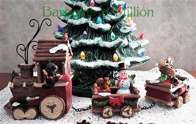 Holiday Christmas Train Rustic Woodland Bear Moose Snowman Tabletop Figurine Set