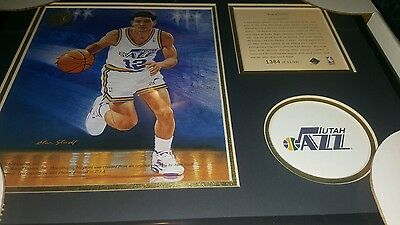 JOHN STOCKTON FRAMED Kelly Russell Lithograph Print Original Art LIMITED EDITION