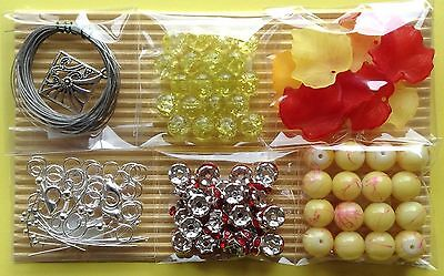 Jewellery Making Kit 6 Bag Craft Bead Findings Yellow Red - Aussie Seller!!!