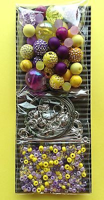 Jewellery Making Kit Craft Bead Necklace Bracelet Purple Yellow - Aussie Seller!