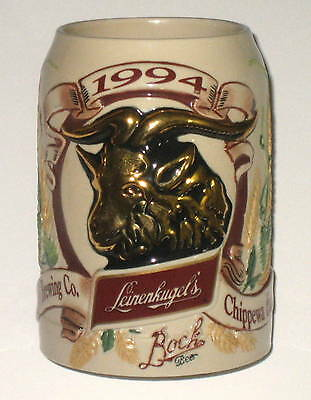 1994 LEINENKUGELS Beer Stein Mug with Ram, Chippewa Falls Wisconsin