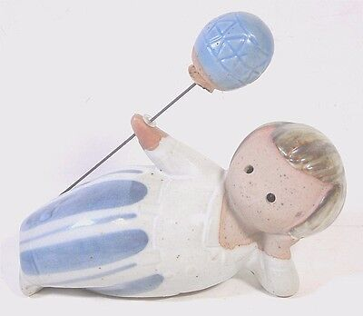 Vintage Fitz And Floyd Stoneware Figurine Boy With A Balloon Lisa Larson Style
