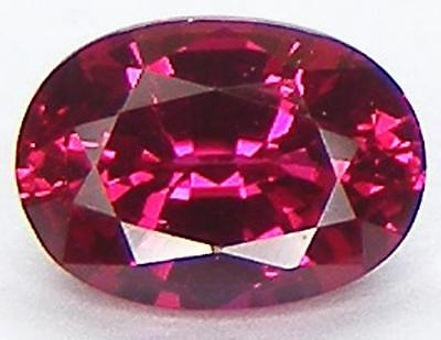 EXCELLENT CUT OVAL 7x5 MM. PIGEON BLOOD RED RUBY LAB CORUNDUM