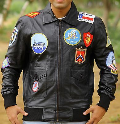 Top Gun Tom Cruise Fighter Jet Pilot Brown Fur Cowhide Leather Jacket