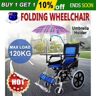 Folding Wheelchair Light Weight Manual Mobility Aid Park Brakes Push Aluminum AU