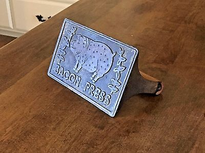 Vintage Cast Iron Wood Handle Bacon Press