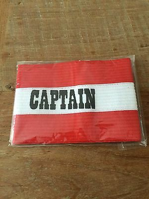 Captains Armband Senior Size - Colour Red - Football, Rugby, Etc