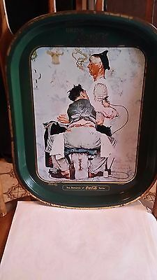 "Vintage Coca Cola Tray ""the Tattoo Artist"" Norman Rockwell 1944 Serving Tray"