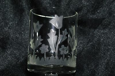 Vintage Cut Glass Tulips Etched on Juice/Wine Glass with stem bottom