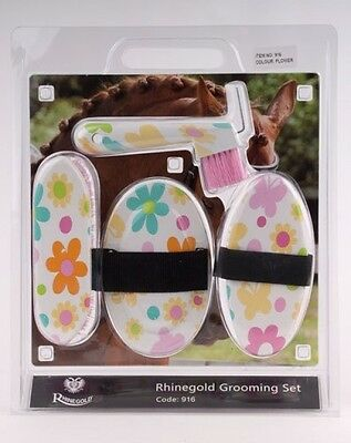 Rhinegold Flower Grooming Brush Set - Horse and Pony Grooming