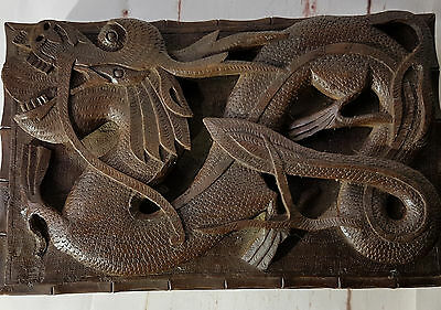 Antique Wooden Oriental High Relief Carved Large Trinket/Cigar Box with Dragon