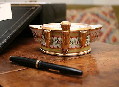 A Beautiful Early c19th Georgian Ceramic Gilt & Floral Inkwell, Worcester, c1820
