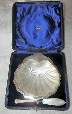 BENETFINK SILVERSMITH'S CHESTER SILVER CLAM SHELL BUTTER DISH 1909 Super Gift