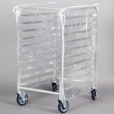 "Regency 33 3/4"" Clear 8 Mil Half-Size Plastic Bun Pan Rack Cover with 3 Zippers"