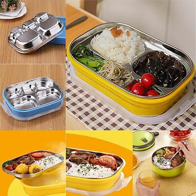Insulated Thermal Square Lunch Bento Box 5 Grid Stainless Steel Food Container