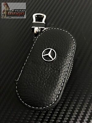 Mercedes Leather Car Key Remote key Fob Case Holder key Ring / Chain Euro