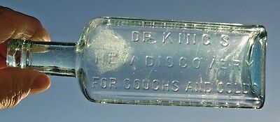 """Quack Medicine Bottle-Dr. King's New Discovery For Coughs And Colds-Aqua- 6 1/4"""""""