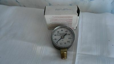 "0-160 PSI Pressure Gauge 2"" Dry 1/4 NPT Brass  Brand New in box made   usa ORSCO"