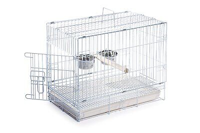 Cage Travel Bird Carrier Parrot Pet White New Portable Stainless Steel Dishes