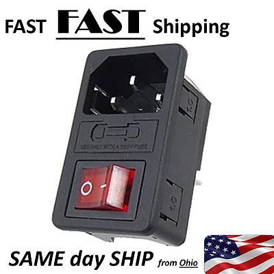 10A 250V Inlet Male Power Socket with Fuse Switch 3 Pin red switch - US SHIP
