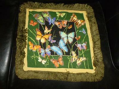 """Colorful Butterfly Pillow Top & Fringe Finished Needlepoint 15"""""""