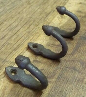 Set of 3 Small Old Matching Salvaged Architectural Vtg Acorn End Metal Hooks