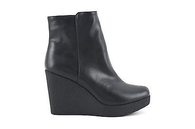 Cafe' Noir Ngd912 Tronchetto Donna In Pelle Con Zeppa Nero