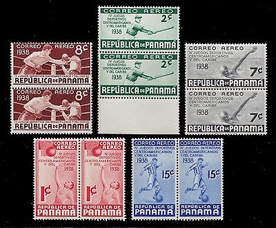 1938 Panama Air Post Pairs Mnh - Caribbean Games - Soccer - Baseball Boxing