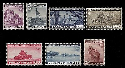 1941 Poland Exile Gouvernement In Great Britain War Armament Mnh - Mi 360 - 367