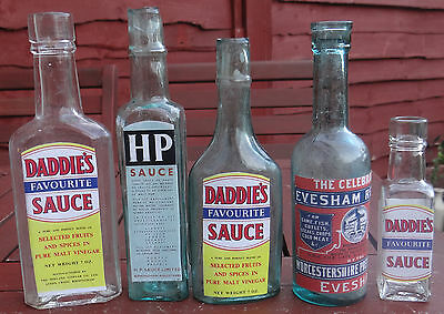 Five Charming Old English  Sauce Bottles.cute Wedding Display Favors Unique Gift