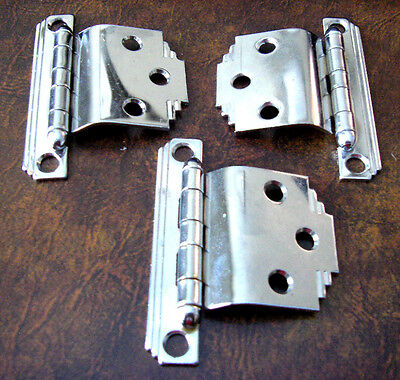 "3 Vintage CHROME Cabinet Door HINGES Stair Stepped Corners for 3/8"" Lipped Doors"