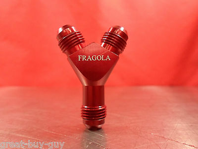 Fragola 900606 Red Aluminum Dual Feed Fuel Y Fitting Dual  6An To 6An