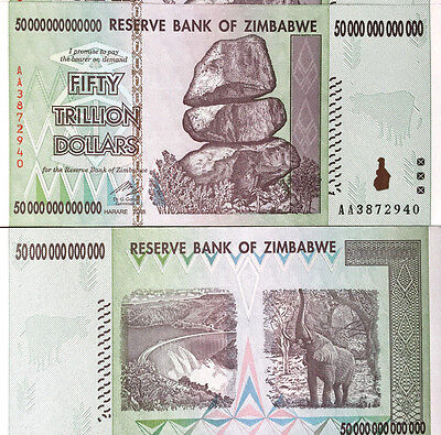 Zimbabwe 50 ( Fifty) Trillion Dollars, Uncirculated ,100 Trillion Series AA/2008