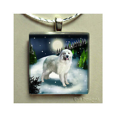 Great Pyrenees Dog Moon Necklace Jewelry Charm Gift Glass Tile Pendant & Chain