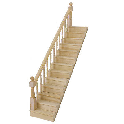 1:12 Dolls House Wooden Staircase Left Handrail Pre-Assembled DT