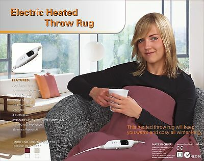 Heated Throw Rug-Electric Snuggle Blanket and  Washable - Color Choices