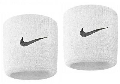 Nike Unisex NK11682 Gym Tennis Swoosh Sweatbands 2 Pack Wristbands White 7x6cm