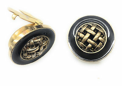 Button Covers Cufflink Plated Gold Black Epoxy center Gold Weave 1 pair