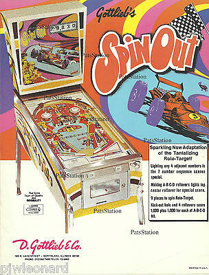 SPIN OUT - 1975 Gottlieb Pinball Flyer (damage)