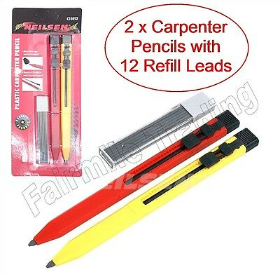 2 X Mechanical Carpenter Pencils Auto Refillable Pocket 12 Leads Timber Ceramic