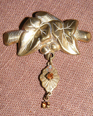 Antique Repousse Brooch Leaves & Dangling Charm