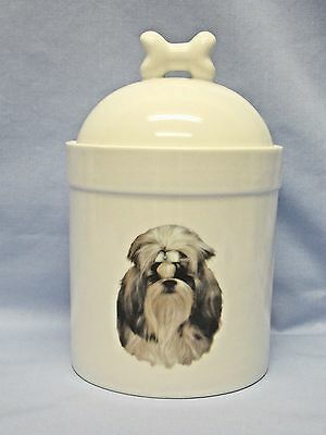 Shih Tzu  Dog Porcelain Treat Jar Fired Head Decal on Front 8 In Tall