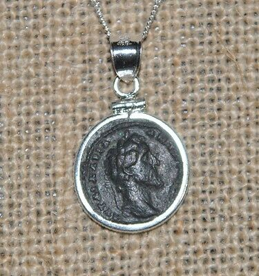 Antoninus Pius Authentic Ancient Roman Bronze Coin 925 Sterling Silver Necklace