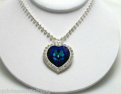 Blue Swarovski Crystal Elements Heart of the Ocean Titanic Necklace w Deluxe Box