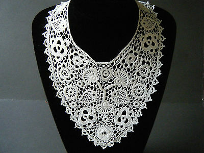 Victorian Collar Original irish hand crochet lace 19c Antique cotton beautiful