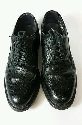 Vintage Men's Hanover Leather Pebble Grain Wingtip Shoes Black Made in USA 9D