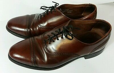 Vintage Men's Hanover All Leather Oxford Shoes Brown Made in USA 9D