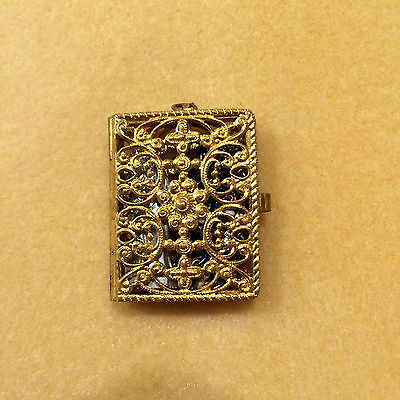 Vintage/Antique Gold Filagree Locket with Tiny Rosary & Statue