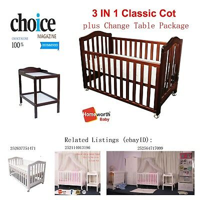 3 in 1 Classic Cot Change Table Mattress Package Crib Baby Junior Bed Pad Brown