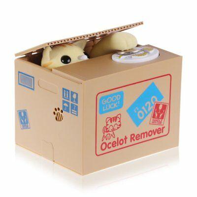 Funny Cat Steal Coin Piggy Bank Automated Savings Box Toy Xmas Kids Gift